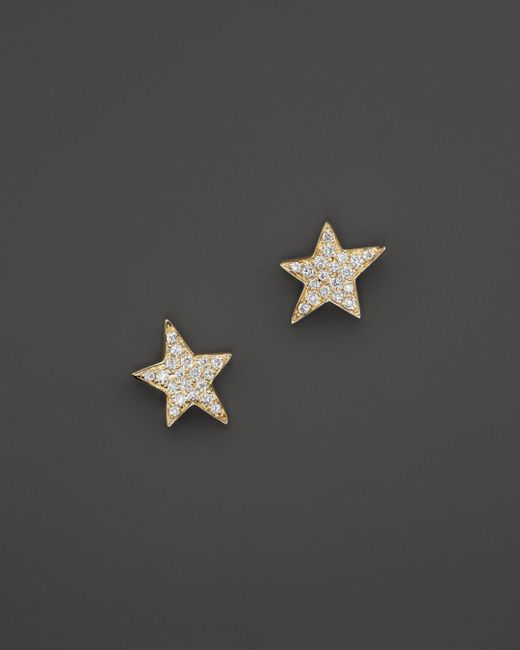 KC Designs - Metallic Diamond Star Stud Earrings In 14k Yellow Gold - Lyst