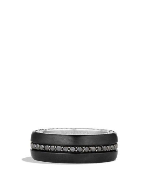 David Yurman - Streamline Wide Band Ring With Black Diamonds And Black Titanium for Men - Lyst