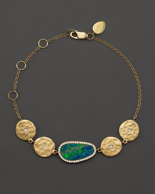 Meira T Metallic 14k Yellow Gold Opal Disc Bracelet With Diamonds