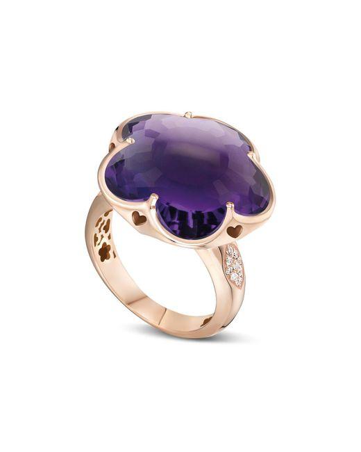Pasquale Bruni - Purple 18k Rose Gold Bon Ton Floral Amethyst & Diamond Ring - Lyst