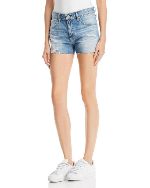 AG Jeans - Blue Bryn Denim Shorts In 16 Years Indigo Deluge Destructed - Lyst