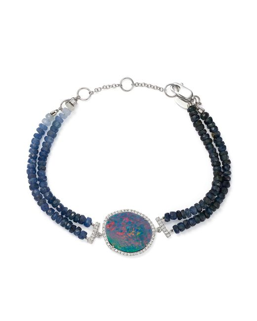 Meira T | Blue 14k White Gold Sapphire Beaded Bracelet With Opal And Diamonds | Lyst