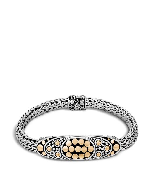 John Hardy - Metallic Sterling Silver And 18k Bonded Gold Dot Deco Oval Station Bracelet - Lyst