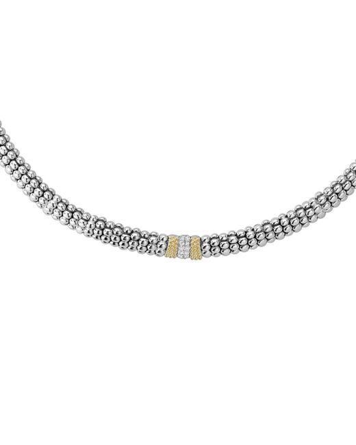 Lagos Metallic 18k Gold And Sterling Silver Diamond Lux Necklace