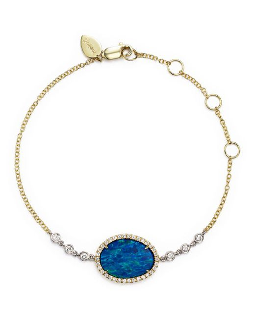 Meira T - Multicolor 14k Yellow Gold And White Gold Opal Bracelet With Diamonds - Lyst