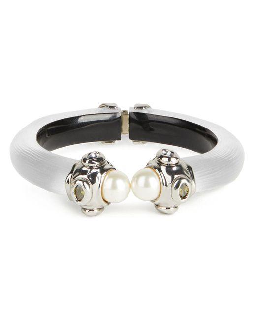 Alexis Bittar Metallic Future Antiquity Multi - Crystal & Imitation Pearl Capped Lucite Cuff Bracelet