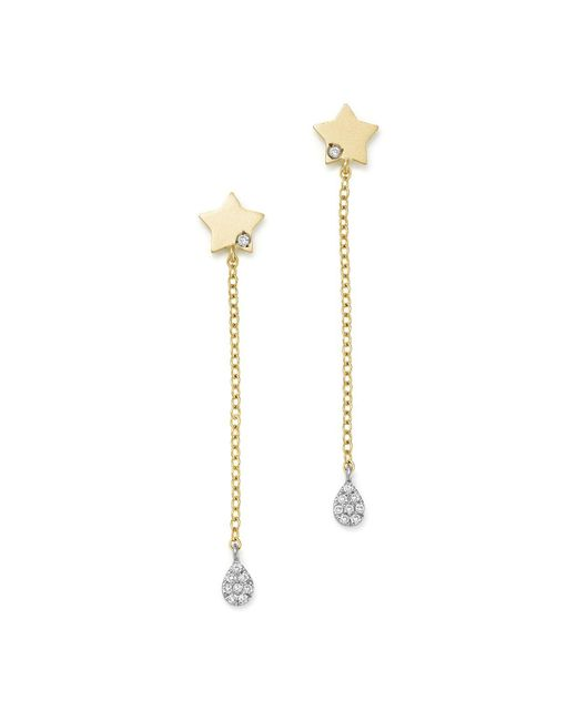 Meira T | 14k White And Yellow Gold Diamond Star Drop Earrings | Lyst