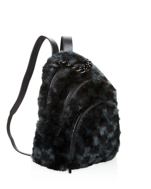 ... Kendall + Kylie - Black Kendall And Kylie Sloane Checkered Faux-fur  Backpack - Lyst ... 080e4354bf
