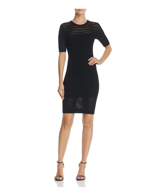 T By Alexander Wang - Black Float-stitch Body-con Dress - Lyst