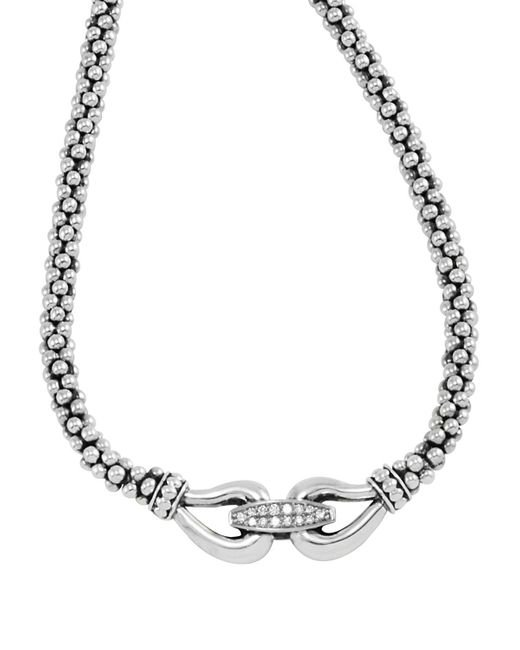 """Lagos   Metallic Derby Sterling Silver Necklace With Diamonds, 16""""   Lyst"""