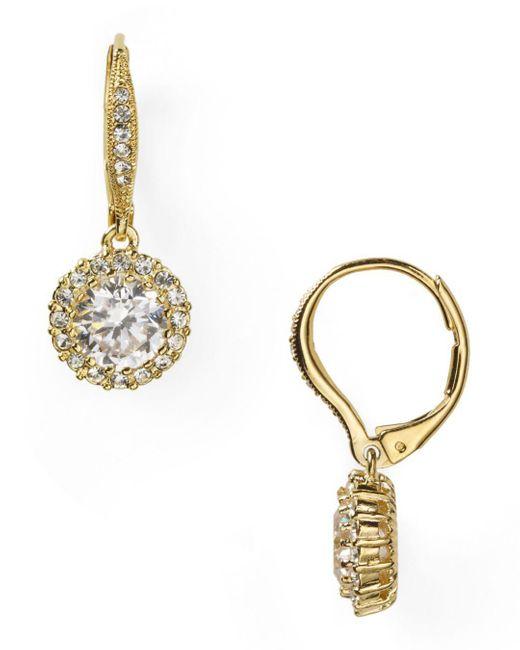 Nadri - Metallic Framed Round Cubic Zirconia Drop Earrings - Lyst