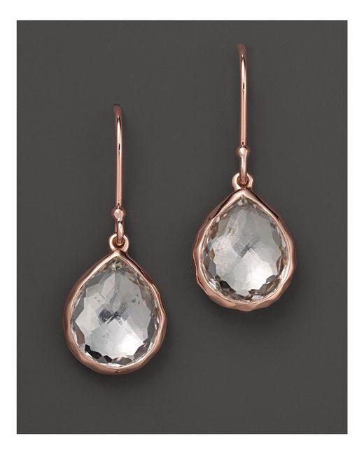 Ippolita | Pink Rosé Teeny Teardrop Earrings In Clear Quartz | Lyst