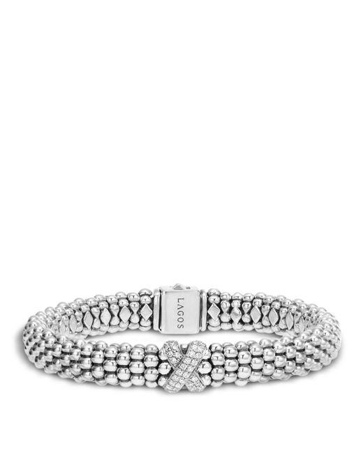 Lagos Metallic Silver Caviar Bracelet With Diamond X