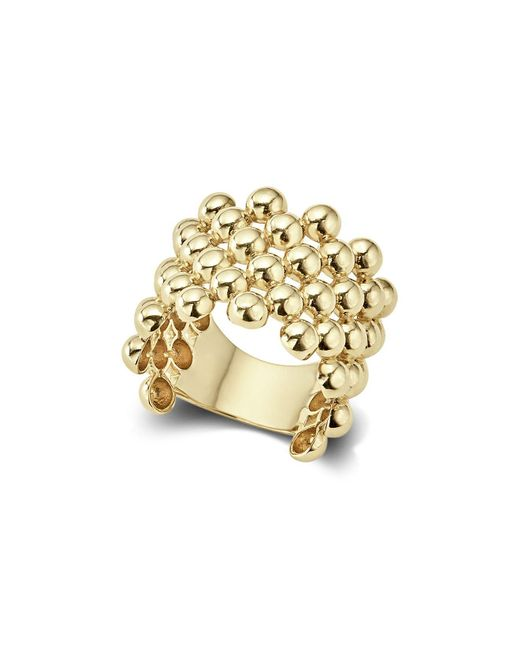 Lagos - Metallic Caviar Gold Wide Band Ring - Lyst