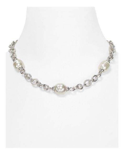 "Majorica | Multicolor Simulated Pearl Silver Chain Necklace, 17"" | Lyst"