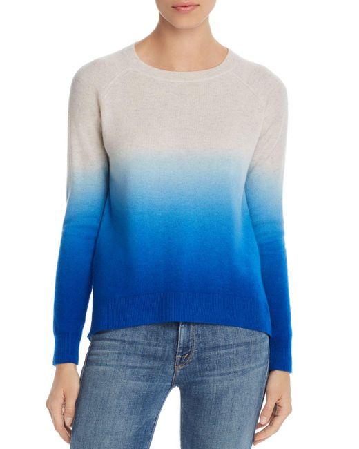 Aqua Blue Cashmere Dip - Dye Cashmere Sweater