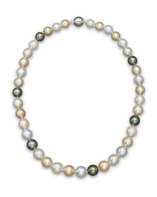 """Bloomingdale's - Multicolor Cultured South Sea And Tahitian Pearl Necklace, 18"""" - Lyst"""