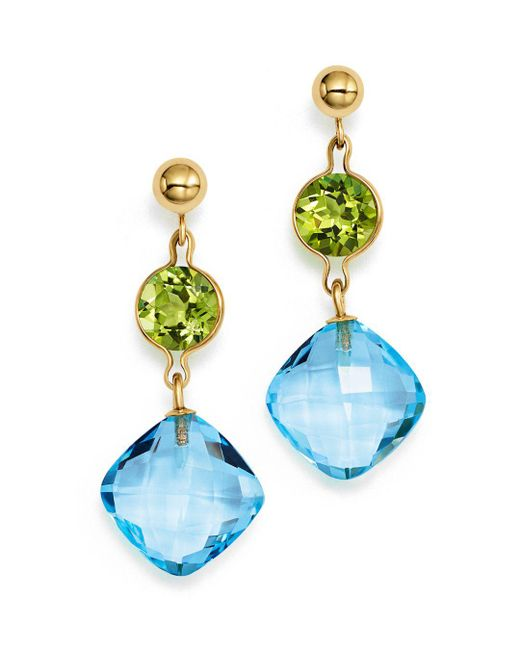 Bloomingdale's - Peridot And Blue Topaz Drop Earrings In 14k Yellow Gold - Lyst