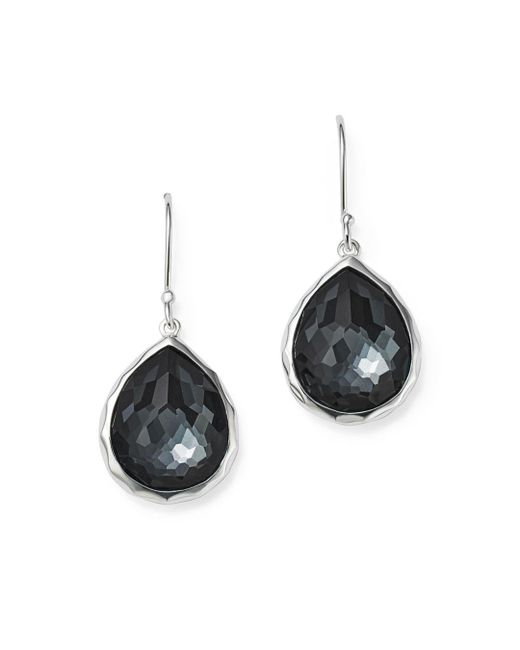 Ippolita Metallic Sterling Silver Wonderland Hematite And Clear Quartz Doublet Mini Teardrop Earrings