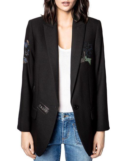 Zadig & Voltaire Black Viva Embellished Blazer