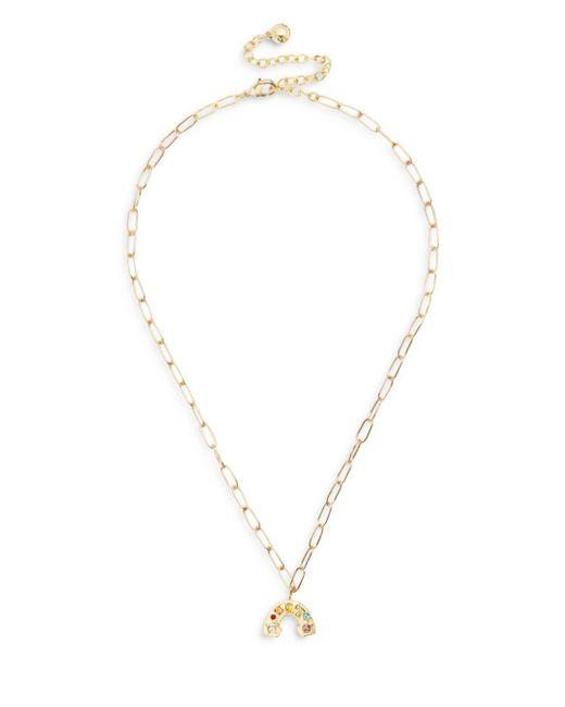 BaubleBar Metallic Roy Multicolor Crystal Rainbow Pendant Necklace In Gold Tone