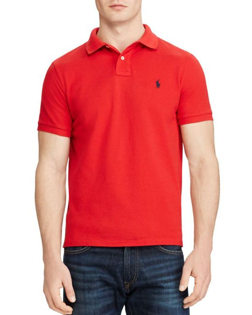 Polo Ralph Lauren - Red Cotton Mesh Custom Slim Fit Polo Shirt for Men - Lyst