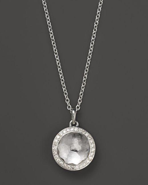 Ippolita | Metallic Lollipop Bezel Necklace In Clear Quartz With Diamonds, .12 Ct. T.w. | Lyst