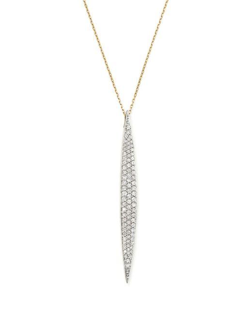 Adina Reyter White 14k Yellow Gold Pavé Diamond Large Marquise Pendant Necklace