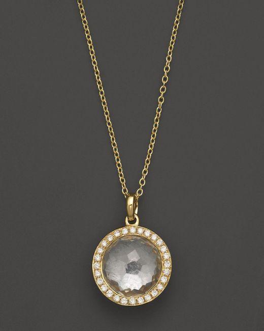 Ippolita | Metallic 18k Gold Mini Lollipop Pendant Necklace In Clear Quartz With Diamonds | Lyst