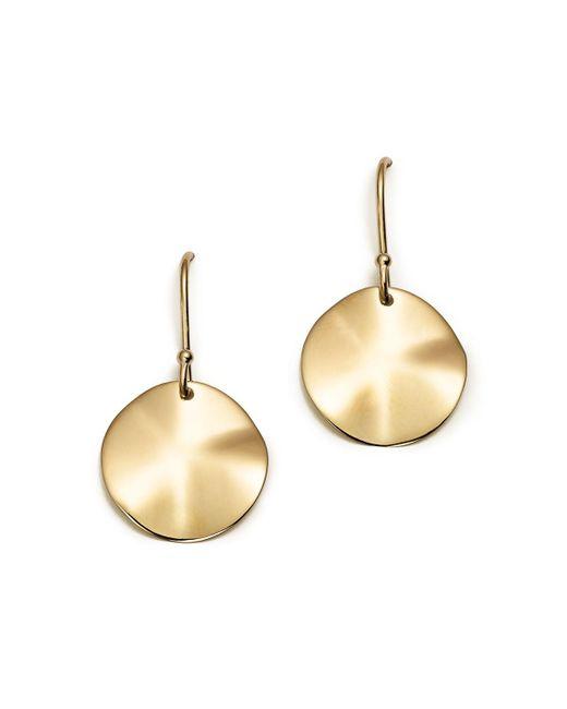 Ippolita   Metallic 18k Gold Wavy Disc Earrings   Lyst