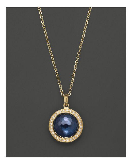 "Ippolita | Metallic 18k Gold Mini Lollipop Pendant Necklace In London Blue Topaz With Diamonds, 16"" | Lyst"