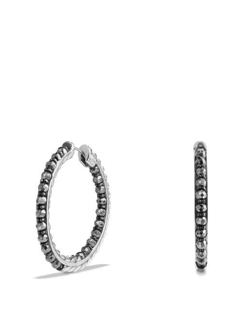 David Yurman - Metallic Cable Berries Hoop Earrings With Hematine - Lyst
