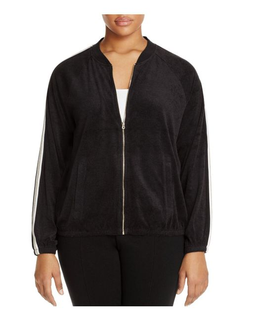 Juicy Couture | Black Plus Microterry Stripe Track Jacket | Lyst