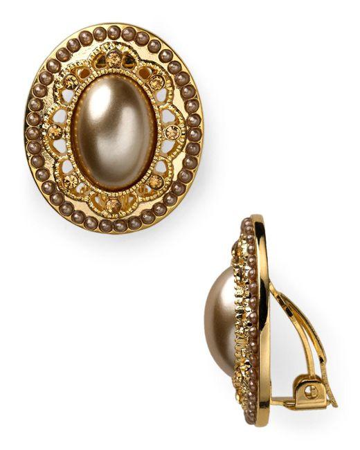 Carolee | Metallic Oval Button Clip-on Earrings | Lyst