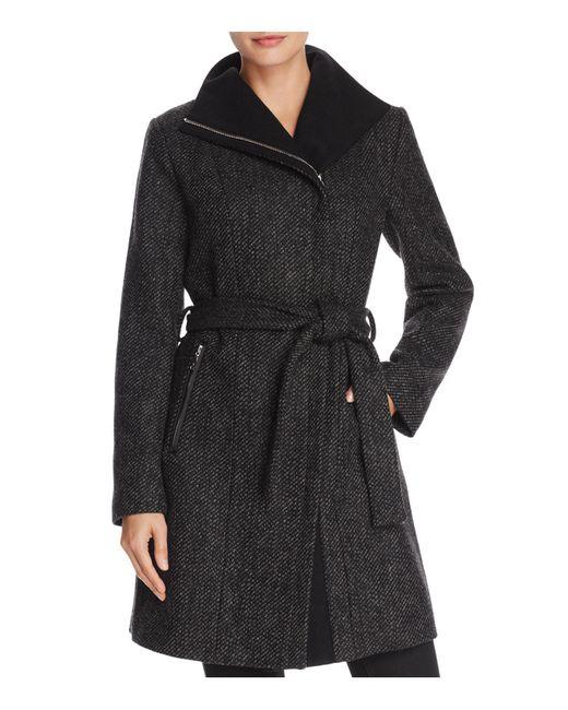 T Tahari | Black Eva Asymmetric Coat | Lyst