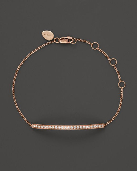 Meira T   Pink 14k Rose Gold Bar Bracelet With Diamonds, .30 Ct. T.w.   Lyst