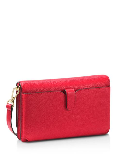 30e1f1c70347 Michael Kors Pebbled Leather Convertible Crossbody Bag in Red - Save ...