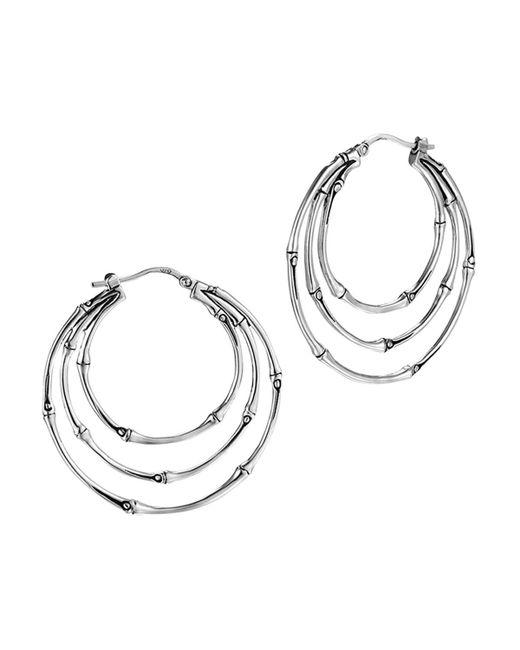 John Hardy | Metallic Bamboo Silver Medium Orbital Hoop Earrings | Lyst