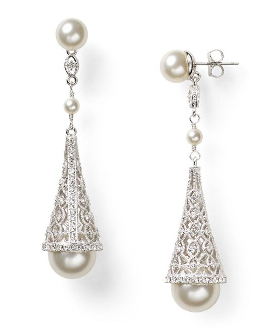 Nadri | White Pave Cone Drop Earrings | Lyst