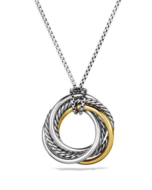 David Yurman - Metallic Crossover Small Pendant With Gold On Chain - Lyst