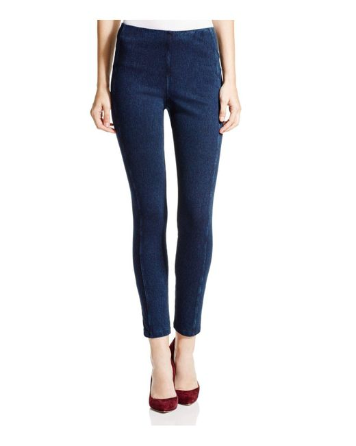 Lyssé - Blue Stretch Denim Zip Leggings - Lyst