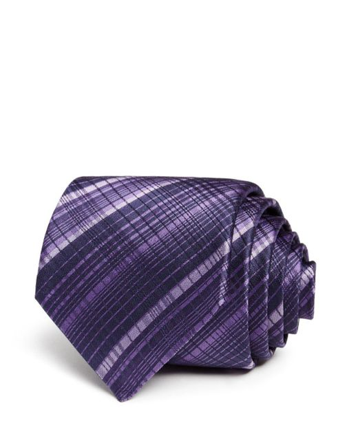 John Varvatos - Purple Mini Tonal - Checked Silk Classic Tie for Men - Lyst