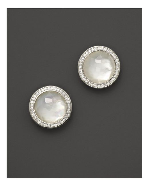 Ippolita | Metallic Sterling Silver Stella Studs In Mother-of-pearl Doublet With Diamonds | Lyst