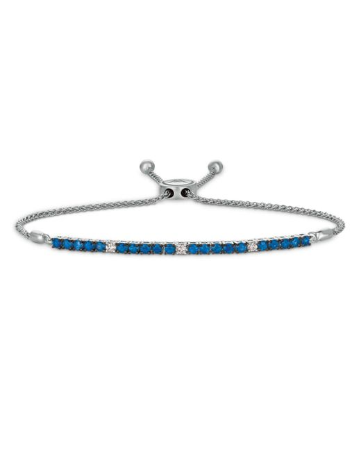 Bloomingdale's Multicolor Ceylon Sapphire And Diamond Bolo Bracelet In 14k White Gold
