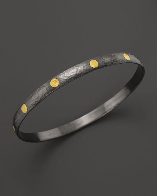 Gurhan   Metallic Sterling Silver And 24k Gold Midnight Bangle   Lyst