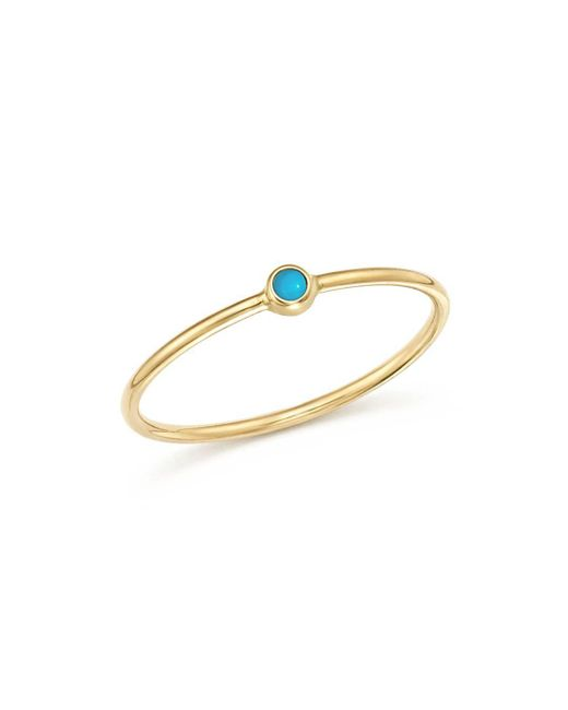Zoe Chicco - Metallic 14k Yellow Gold Thin Ring With Turquoise - Lyst