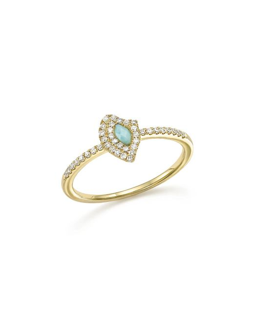 Meira T | Metallic 14k Yellow Gold Larimar Ring With Diamonds | Lyst