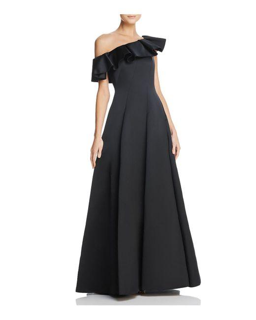 Paule Ka - Black Duchess Satin Ruffled One-shoulder Gown - Lyst