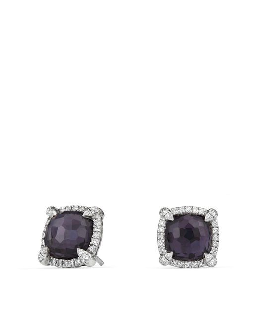 David Yurman - Châtelaine Pavé Bezel Earrings With Black Orchid And Diamonds - Lyst