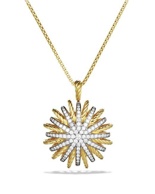 David Yurman - Yellow Starburst Large Pendant With Diamonds On Chain - Lyst